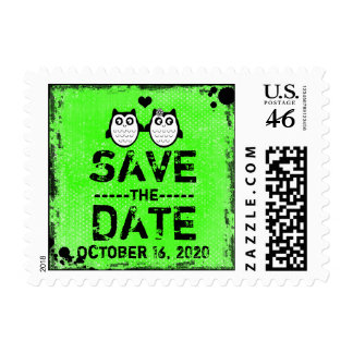 Neon green grunge owl save the date stamps
