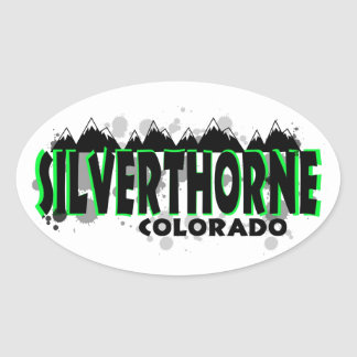 Neon green grunge Silverthorne Colorado Oval Sticker