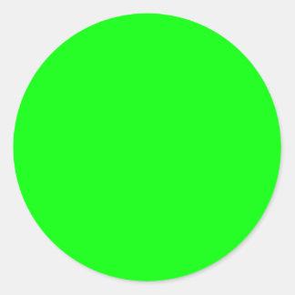 Neon green hex 00FF00 Round Sticker