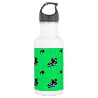 Neon Green Hockey Pattern Water Bottle