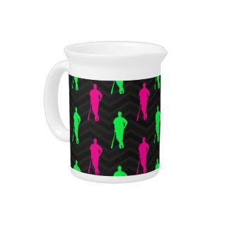 Neon Green, Hot Pink, Baseball, Softball Black Drink Pitchers
