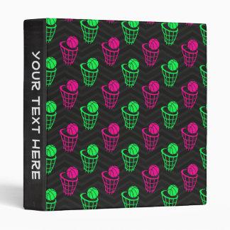 Neon Green, Hot Pink, Basketball, Black Chevron 3 Ring Binder