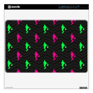 Neon Green, Hot Pink, Basketball Player, Black MacBook Decal