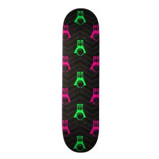 Neon Green, Hot Pink, Bowling, Black Chevron Custom Skateboard