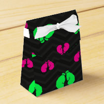 Neon Green, Hot Pink, Boxing Gloves, Black Chevron Favor Box