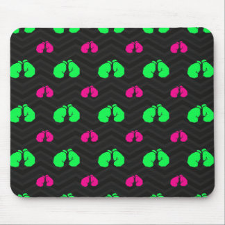 Neon Green, Hot Pink, Boxing Gloves, Black Chevron Mouse Pad