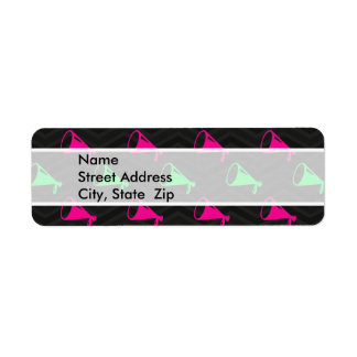 Neon Green, Hot Pink, Cheerleader, Black Chevron Return Address Label