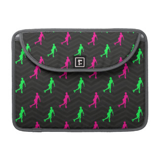 Neon Green, Hot Pink, Figure Skating Black Chevron Sleeve For MacBooks