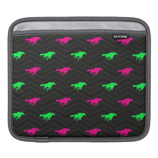 Neon Green, Hot Pink, Horse Racing, Black Chevron iPad Sleeves
