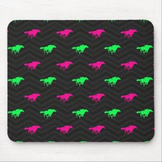 Neon Green, Hot Pink, Horse Racing, Black Chevron Mousepads