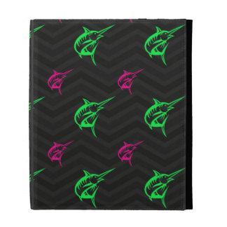 Neon Green Hot Pink Offshore Fishing Black iPad Case
