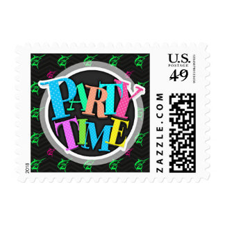 Neon Green, Hot Pink, Offshore Fishing, Black Postage Stamps