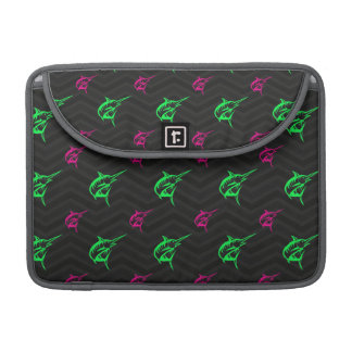Neon Green, Hot Pink, Offshore Fishing, Black Sleeve For MacBook Pro