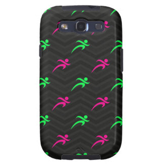 Neon Green, Hot Pink, Running, Runner, Black Galaxy S3 Case