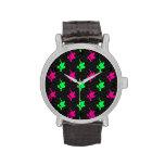 Neon Green, Hot Pink, Skater, Black Chevron Wristwatch