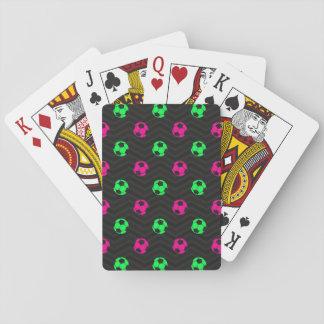 Neon Green, Hot Pink, Soccer Ball, Black Chevron Deck Of Cards