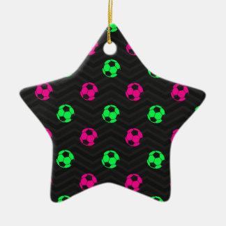 Neon Green, Hot Pink, Soccer Ball, Black Chevron Christmas Tree Ornament