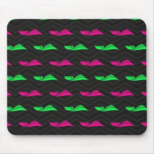 Neon Green, Hot Pink, Speed Boat, Black Chevron Mousepad
