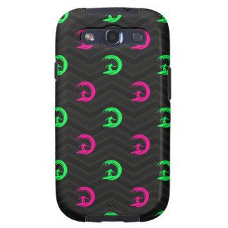 Neon Green, Hot Pink Surfing, Surfer Black Chevron Samsung Galaxy S3 Covers