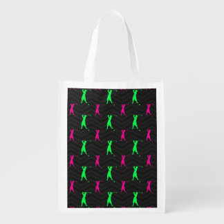 Neon Green, Hot Pink, Vintage Golfer Black Chevron Grocery Bag