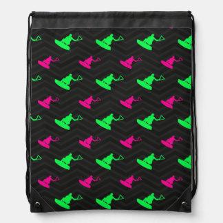 Neon Green, Hot Pink, Wakeboarding, Black Chevron Drawstring Bag