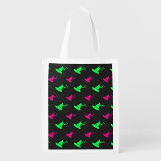 Neon Green, Hot Pink, Wakeboarding, Black Chevron Reusable Grocery Bag