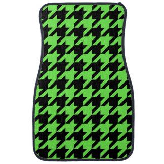Neon Green Houndstooth Pattern Car Mat