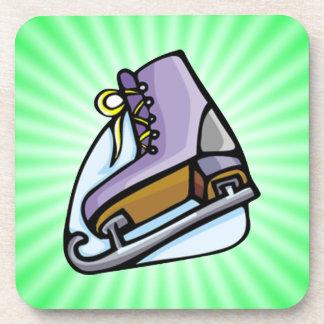 Neon Green Ice Skate. Drink Coaster