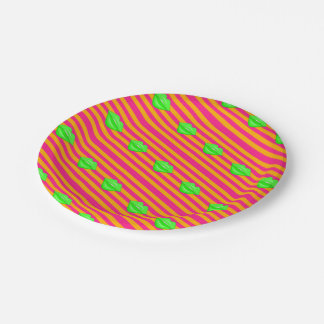 Neon green kiss lips orange stripes paper plates