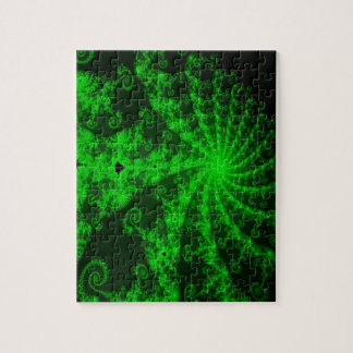 Neon Green Lace Fractal Jigsaw Puzzle