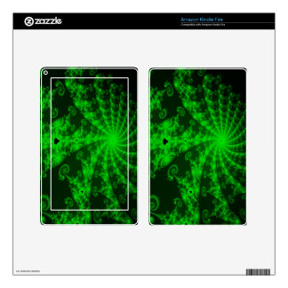 Neon Green Lace Fractal Kindle Fire Decals