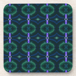 Neon Green Lavender Seamless Linked Pattern Drink Coaster