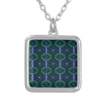 Neon Green Lavender Seamless Linked Pattern Silver Plated Necklace