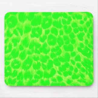 Neon Green Leopard Print Mouse Pad