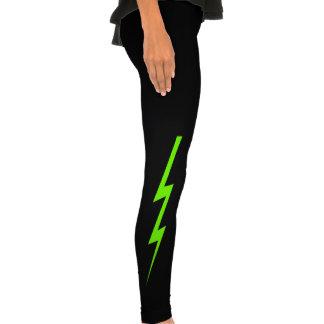 Neon Green Lighting Bolt Legging Tights