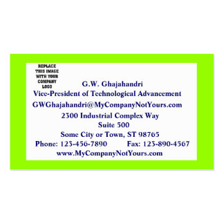 Neon Green Mission Statement Business Card
