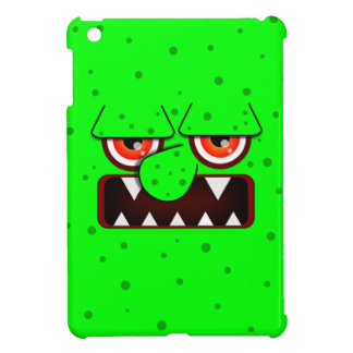 Neon Green Monster Face, Big Nose Sharp Fangs iPad Mini Covers