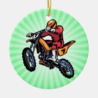 Neon Green Motocross Ceramic Ornament