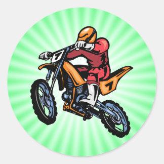 Neon Green Motocross Classic Round Sticker
