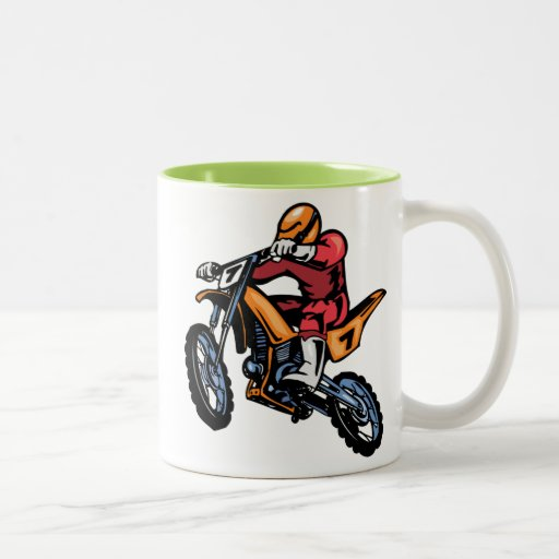 Neon Green Motocross Two-Tone Coffee Mug