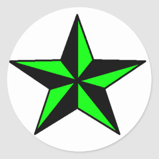 Neon Green Nautical Star Sticker Round