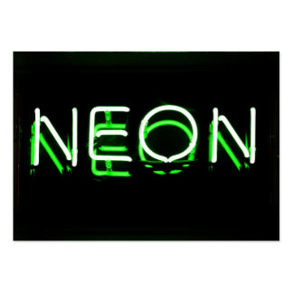 NEON - Green Neon Sign Large Business Cards (Pack Of 100)