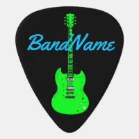 neon green on black, electric guitar pick