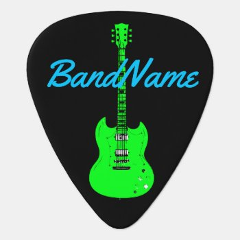 Neon Green On Black  Electric Guitar Pick by mixedworld at Zazzle