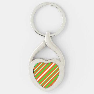 Neon Green Orange Stripes Heart Silver-Colored Heart-Shaped Metal Keychain