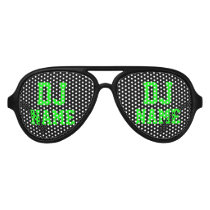 Neon green party Deejay name shades for DJ