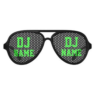 Neon green party Deejay name shades for DJ Aviator Sunglasses