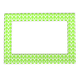 Neon Green Peace sign magnetic frame