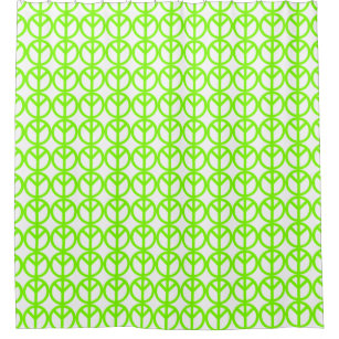 Neon Green Peace Sign Shower Curtain