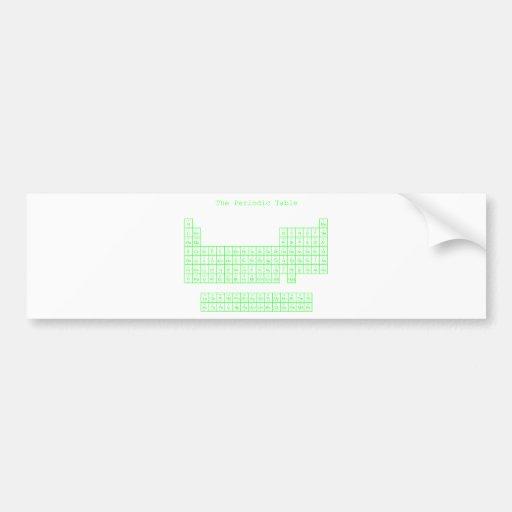 Neon Green Periodic Table Car Bumper Sticker